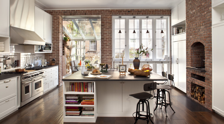 Tall windows let in plenty of natural light, cabinetry, countertop, cuisine classique, interior design, kitchen, room, window, gray, brown