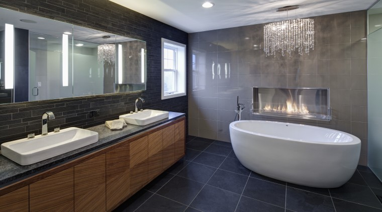 With glittering reflections, dancing flames and smooth textures, bathroom, interior design, real estate, room, gray, black