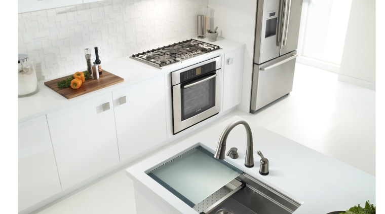 Theres no need to compromise workspace in the countertop, kitchen, product, product design, sink, tap, white