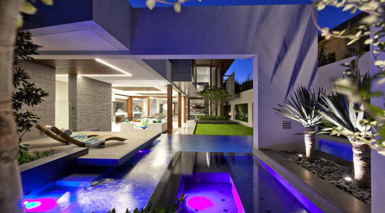 Large porticos frame the garden and pool areas architecture, estate, home, house, interior design, lighting, majorelle blue, property, real estate, swimming pool, villa