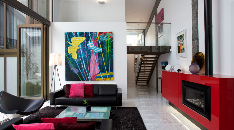 Resene White forms a quiet backdrop to Resene house, interior design, living room, loft, gray, black