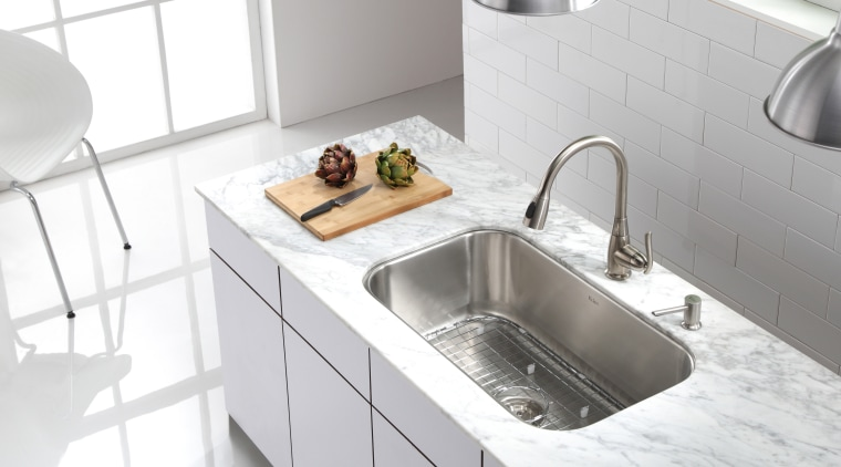 Kitchen sink by Kraus bathroom sink, countertop, kitchen, plumbing fixture, product design, sink, tap, white