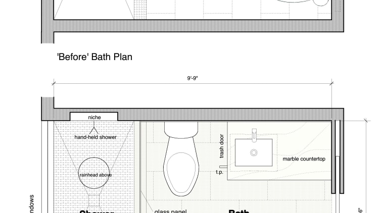 Before and after plans. Although the shower is area, design, diagram, drawing, floor plan, line, plan, product, product design, text, white
