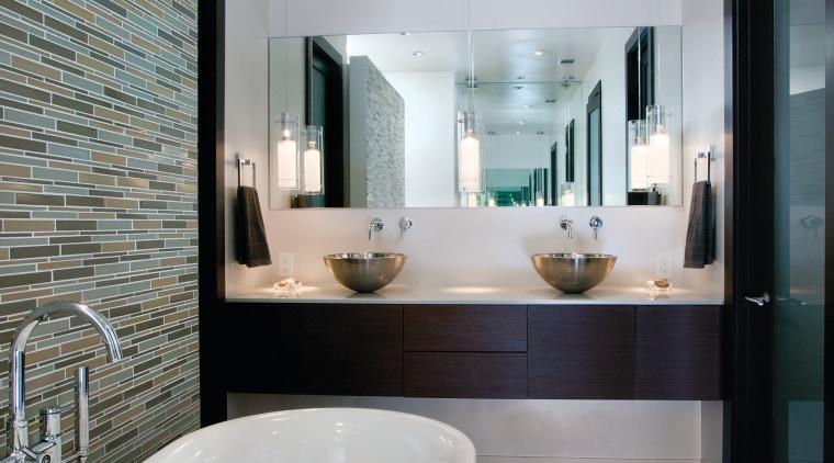 Cantilevered wenge wood cabinetry enhances the fresh, modern architecture, bathroom, floor, home, interior design, real estate, room, sink, tile, gray