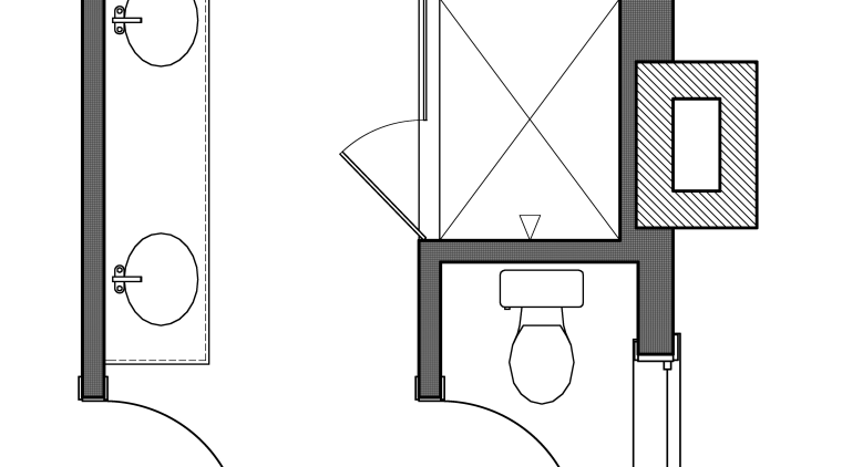 This master bathroom, in a new addition to angle, area, black and white, design, diagram, drawing, font, furniture, hardware accessory, line, product, product design, structure, white