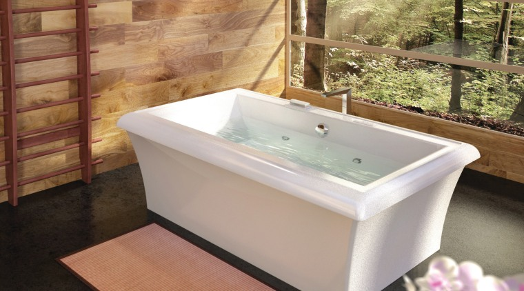 Although the Origami reflects a distinctive Japanese design bathroom, bathtub, floor, plumbing fixture