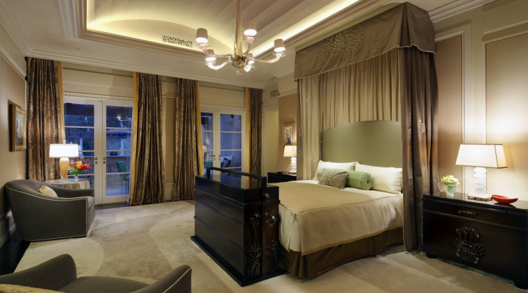 Custom design gives this master suite a lavish bedroom, ceiling, estate, interior design, room, suite, brown, black