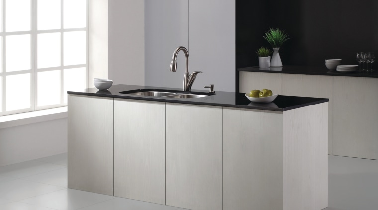 Pure and simple - this sleek, clean lines countertop, floor, furniture, interior design, kitchen, product design, sink, table, tap, gray, white