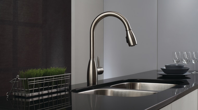 You may be fine updating the fixtures. bathroom sink, kitchen, plumbing fixture, product design, sink, tap, black, gray
