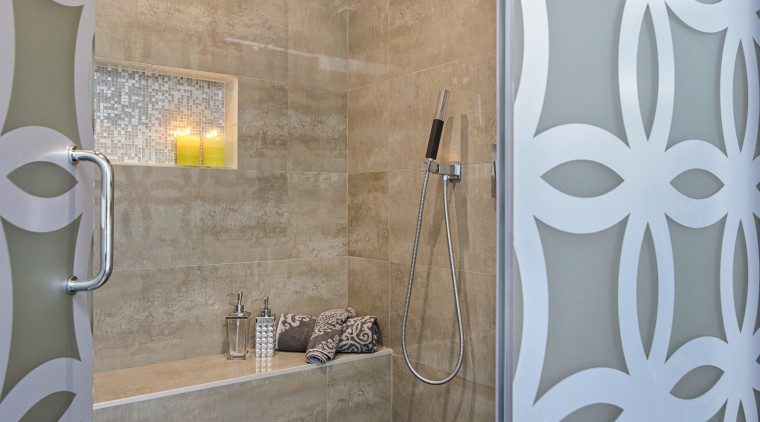 This shower area includes feature tile surfaces, built-in bathroom, ceramic, floor, flooring, home, interior design, plumbing fixture, room, tile, wall, gray
