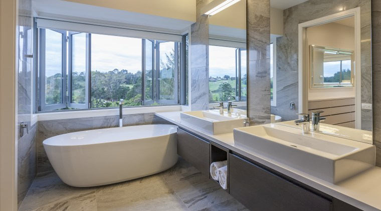 Twin, cantilevered vanity cabinets, large mirrors, and a architecture, bathroom, estate, interior design, real estate, room, window, gray