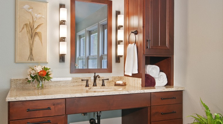 One of the vanities in this remodeled bathroom cabinetry, chest of drawers, countertop, cuisine classique, floor, furniture, home, interior design, kitchen, room, table, gray