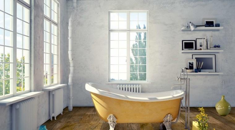 Neo laminate flooring from Creative Flooring is suited bathroom, bathtub, floor, flooring, home, interior design, room, wood, wood flooring, gray, brown