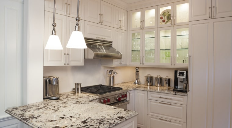 Stainless steel handles, appliances and fixtures are appropriate cabinetry, ceiling, countertop, cuisine classique, floor, flooring, interior design, kitchen, room, wood flooring, gray