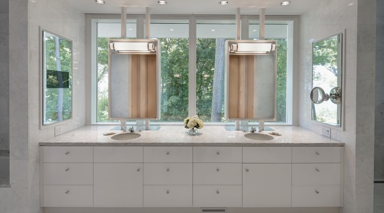 This new master suite, built within an addition bathroom, bathroom accessory, bathroom cabinet, cabinetry, countertop, home, interior design, kitchen, room, sink, window, gray