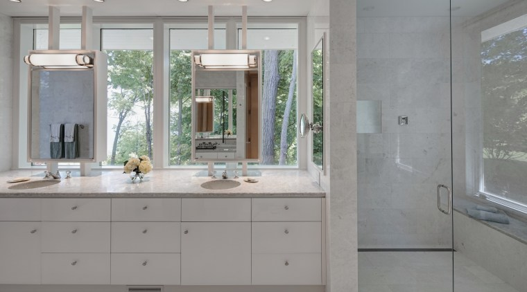 This new shower in a master suite addition bathroom, bathroom accessory, bathroom cabinet, cabinetry, countertop, floor, home, interior design, kitchen, room, sink, gray