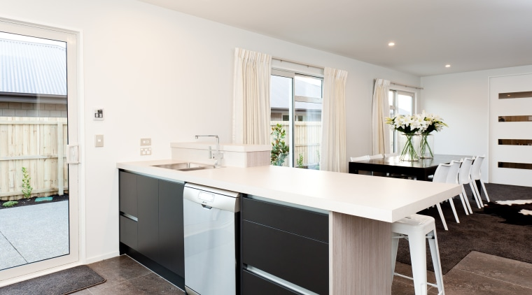 The kitchen features a Smeg 60cm dishwasher can countertop, cuisine classique, home, interior design, kitchen, property, real estate, room, window, white