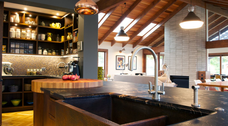 An antique copper sink adds to the crafted ceiling, countertop, interior design, kitchen, brown, gray