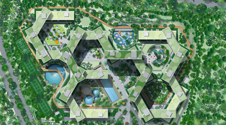 The hexagonal form of The Interlace apartment development aerial photography, area, bird's eye view, grass, land lot, residential area, suburb, urban design, green