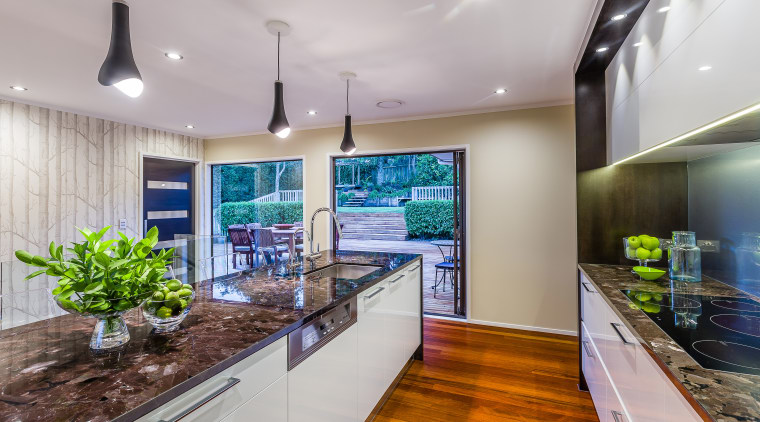 This new kitchen, designed by Kira Gray and countertop, interior design, kitchen, real estate, gray