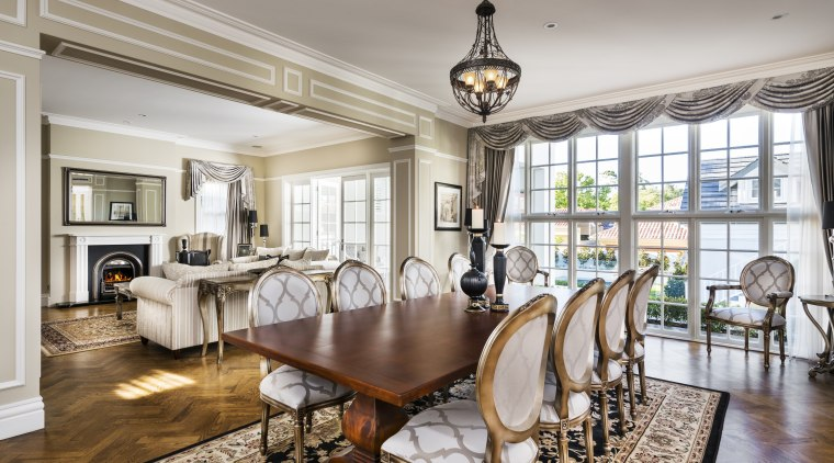 Soft neutral tones and gold-painted furniture enliven this ceiling, dining room, estate, home, interior design, living room, property, real estate, room, gray