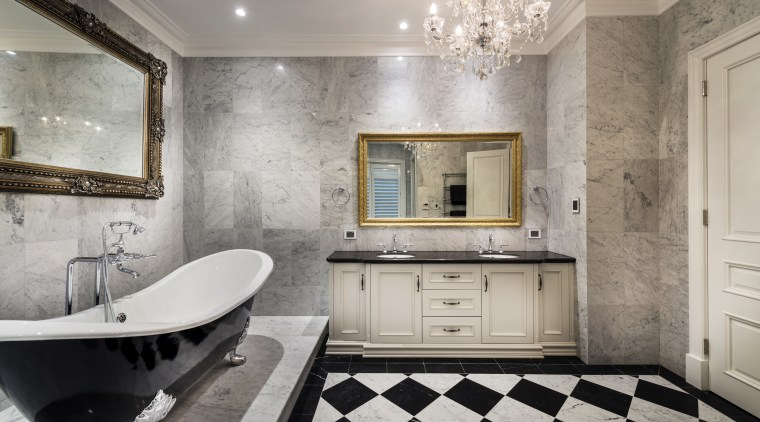 Luxuriating in the bathroom is even more relaxing bathroom, countertop, floor, flooring, home, interior design, room, tile, wall, gray