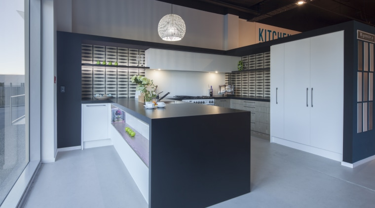 Modern black and white kitchen with grey-toned wood architecture, interior design, kitchen, gray