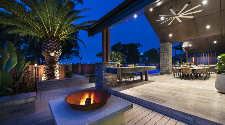 New gabled canopies over this new outdoor living backyard, estate, home, interior design, landscape lighting, leisure, lighting, patio, property, real estate, resort, swimming pool, villa, blue