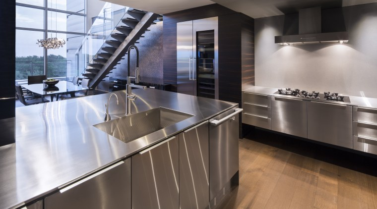 Julien Signature stainless steel kitchens are custom designed cabinetry, countertop, cuisine classique, floor, interior design, kitchen, gray