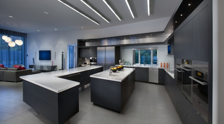 The adjoining kitchen cabinetry features a dark Raven interior design, gray, black