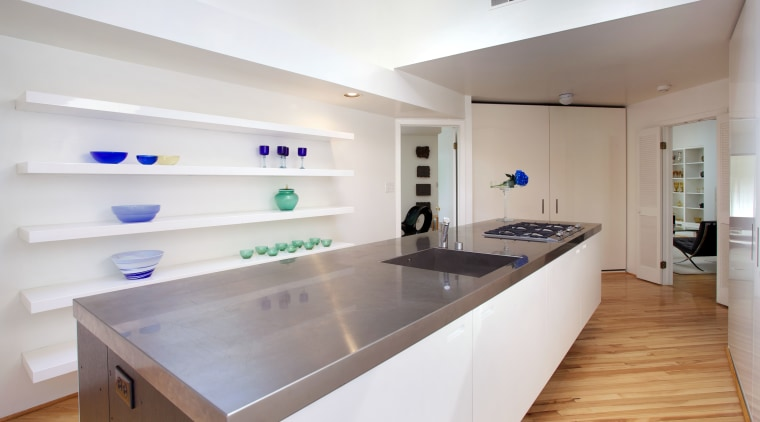 Its sleek, simple and all white this new countertop, interior design, kitchen, real estate, room, gray, white