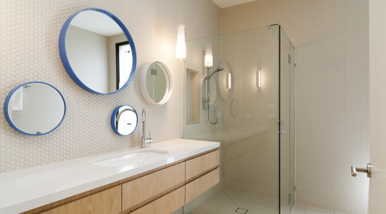 A clear glass shower stall optimises the sense bathroom, bathroom sink, floor, home, interior design, plumbing fixture, product design, room, sink, tile, gray