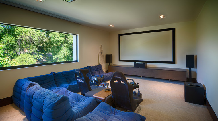 Media room in new house by architect Mark ceiling, estate, home, house, interior design, living room, real estate, room, brown