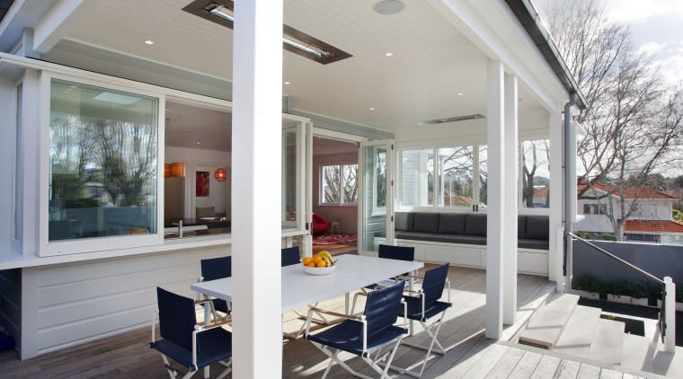 With its bay window, long window seat and daylighting, house, interior design, real estate, roof, window, gray