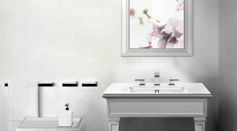 Gessis new Fascino collection of sinks, tubs, faucets bathroom, desk, floor, furniture, home, interior design, plumbing fixture, product, product design, shelf, sink, table, tap, wall, white, gray
