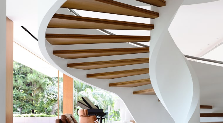Sculptural trees and lush planting create an idyllic architecture, ceiling, daylighting, estate, home, house, interior design, product design, stairs, wood, white