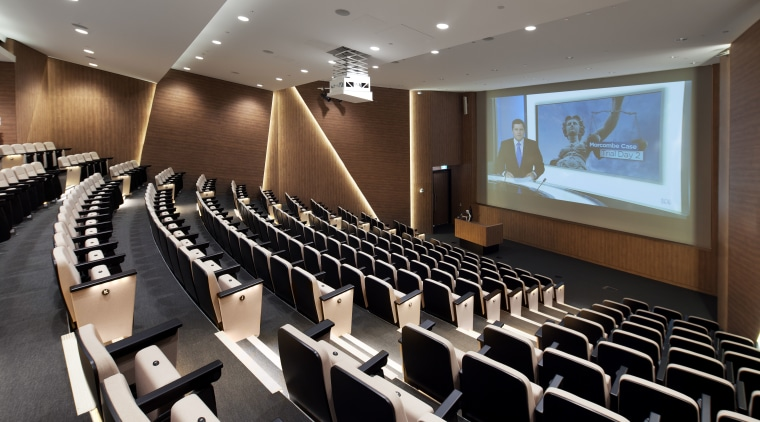 The Harry Perkins Institute for Medical Research features auditorium, conference hall, convention center, black, gray