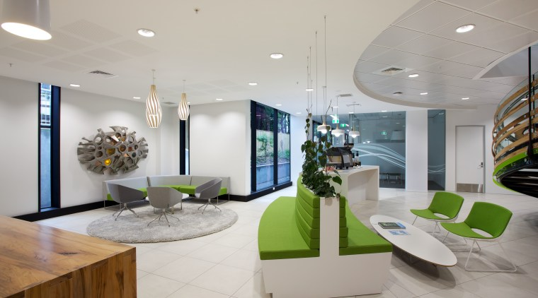 The reception area of the new BP head architecture, ceiling, interior design, lobby, product design, real estate, gray