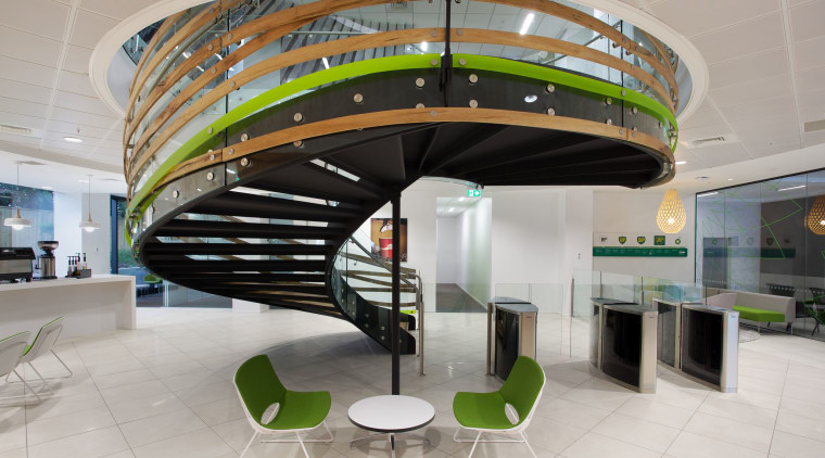 A large void was opened up between the architecture, interior design, lobby, product design, gray
