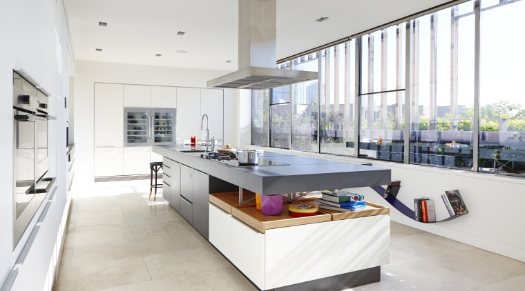 Sunlight pours into this new kitchen, which is architecture, countertop, interior design, kitchen, white