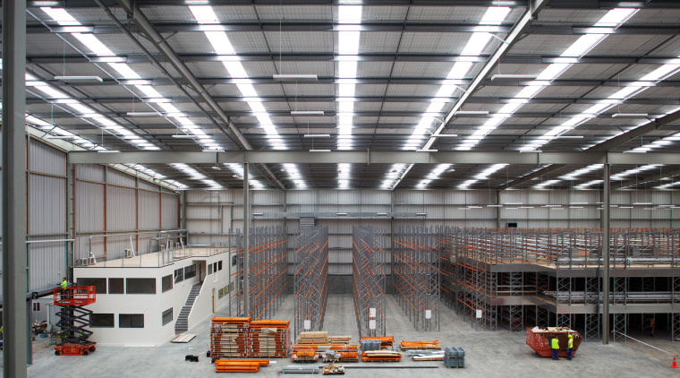 JPL Group Distribution Centre by Tse Architects streamlines daylighting, factory, steel, structure, warehouse, gray