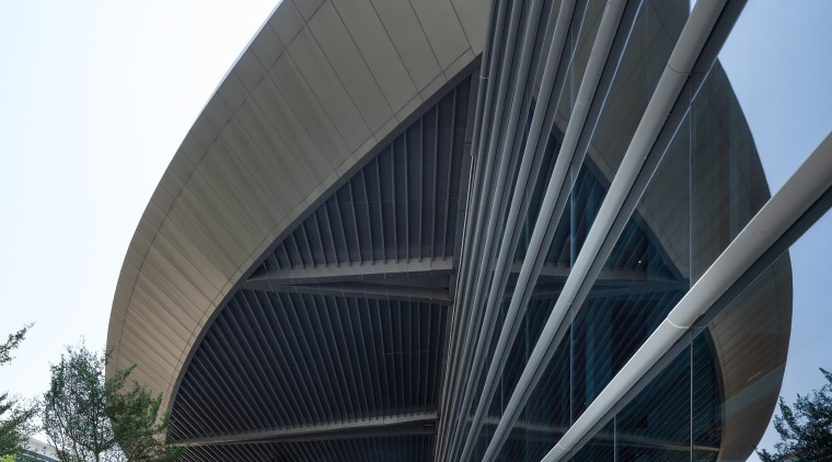 The Zhuhai International Convention and Exhibition Centre designed architecture, building, convention center, corporate headquarters, daylighting, daytime, facade, fixed link, headquarters, infrastructure, metropolis, metropolitan area, mixed use, sky, skyway, structure, black, white