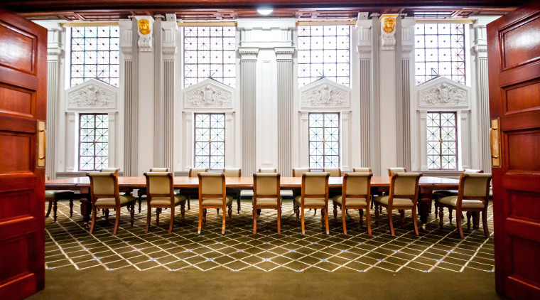 As part of the Brisbane City Hall project, aisle, chair, conference hall, dining room, function hall, furniture, interior design, lobby, table, white