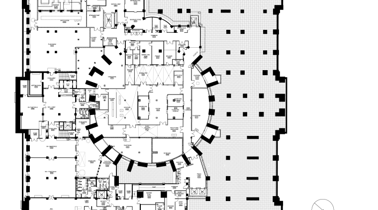 Code-compliant heritage restoration of Brisbane City Hall area, black and white, design, diagram, drawing, floor plan, font, line, music, plan, schematic, square, technical drawing, text, white