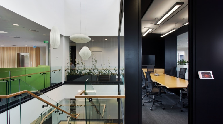 Natural materials feature extensively throughout the new Ricoh architecture, interior design, office, black, gray