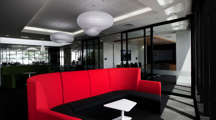 Both red and green furnishings appear in the architecture, ceiling, interior design, lobby, black, gray