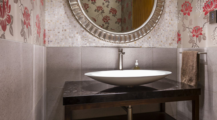 This powder room by designer Natalie Du Bois bathroom, ceramic, floor, flooring, interior design, room, sink, tile, wall, gray, black