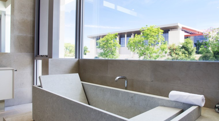 In this contemporary master bathroom a Kaldewei Conoduo architecture, daylighting, home, house, interior design, real estate, window, white, gray