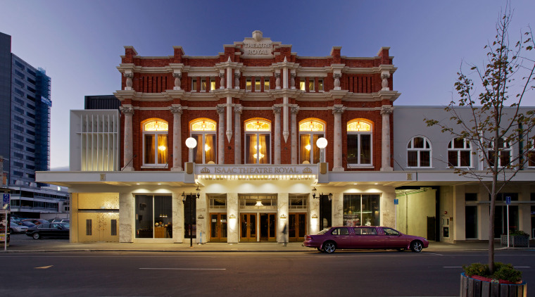 The Isaac Theatre Royal in Christchurch has undergone architecture, building, city, classical architecture, commercial building, downtown, elevation, estate, facade, home, hotel, house, landmark, mansion, metropolis, metropolitan area, mixed use, neighbourhood, plaza, real estate, residential area, sky, town, blue