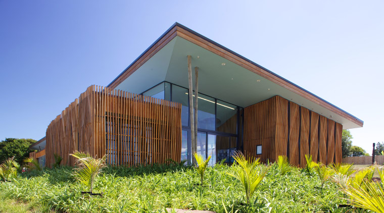 Landscaping  around the new Waiheke library, Waiheke architecture, cottage, facade, farmhouse, grass, home, house, hut, property, real estate, shed, sky, wood, teal